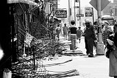 Aftermath of 1977 blackout power failure Storefront gates failed to keep out looters at Utica and Union St and Eastern Parkway in Brooklyn rows of...