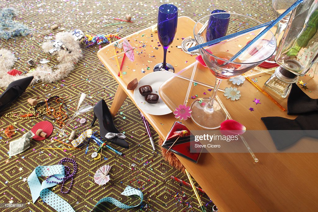 Aftermath of New Years party : Foto stock