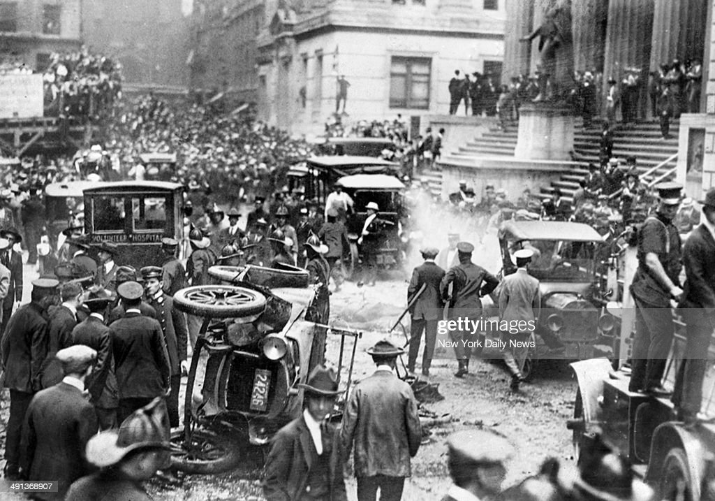 three reports on the explosion of wall street in 1920 As the clocks struck noon on september 16, 1920, a massive explosion tore through wall street in manhattan's financial district the blast killed 38 people and injured hundreds more, but.