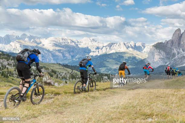 Afternoon downhill biking to Passo Sella, Dolomites, Italy