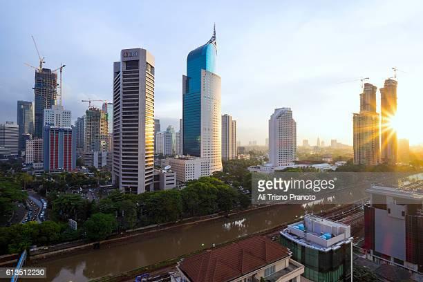 Afternoon in Jakarta Skyline, Capital city of Indonesia. Jakarta, Indonesia.