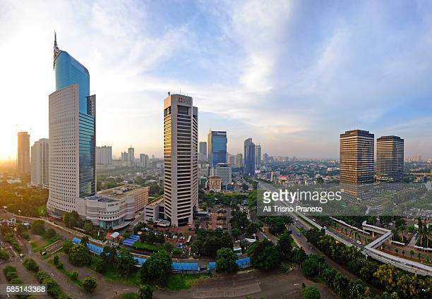 Afternoon in Sudirman Road, Jakarta Business District. Jakarta Skyline, Indonesia.