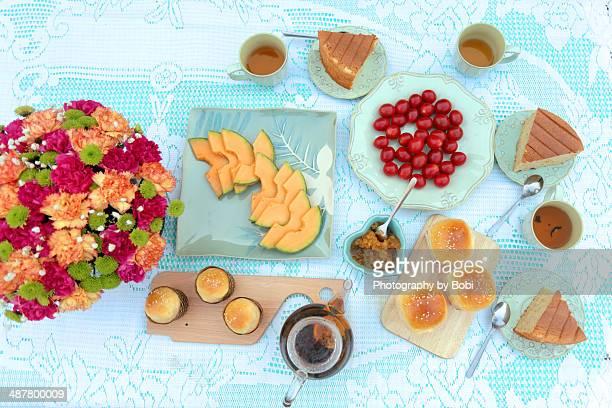 afternoon tea on the table had dessert