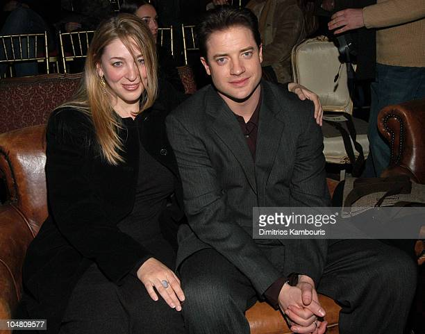 Afton Smith and Brendan Fraser during MercedesBenz Fashion Week Fall 2003 Collections John Varvatos Front Row at Altman Building in New York City New...
