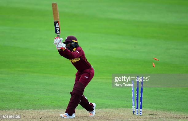 Afy Fletcher of West Indies is bowled during the ICC Women's World Cup 2017 match between Australia and West Indies at The Cooper Associates County...