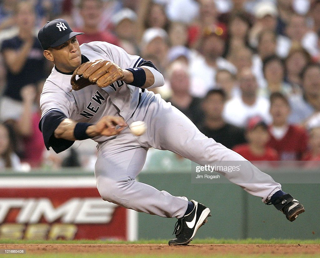 Against the Boston Red Sox New York Yankees third baseman Alex Rodriguez makes the throw to second at Fenway Park in Boston Massachuesetts on July 23...