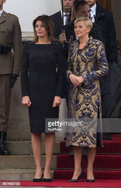 Agata DudaKornhauser and Desislava Radeva pose during the official welcome ceremony in the courtyard of the Belvedere Palace in Warsaw Poland on 5...