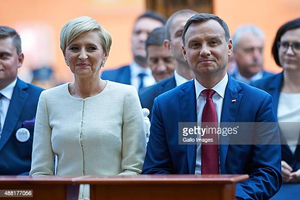 LODZ POLAND SEPTEMBER 13 Agata Kornhauser Duda and Andrzej Duda attends the Presidential Harvest Festival on September 12 2015 in Spala Poland The...