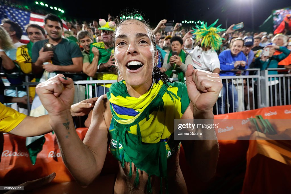 Agatha Bednarczuk Rippel playing with Barbara Seixas De Freitas of Brazil celebrates winning the beach volleyball Women's Semi final against Kerri Walsh Jennings and April Ross of the United States on Day 11 of the Rio 2016 Olympic Games at the Beach Volleyball Arena on August 16, 2016 in Rio de Janeiro, Brazil.