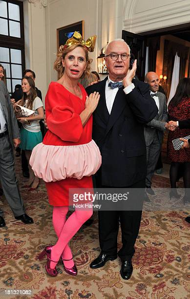 Agatha Ruiz de la Prada and Manolo Blahnik attend the private view of 'Made In Spain Creating Fashion For The World' at Embassy of Spain on September...