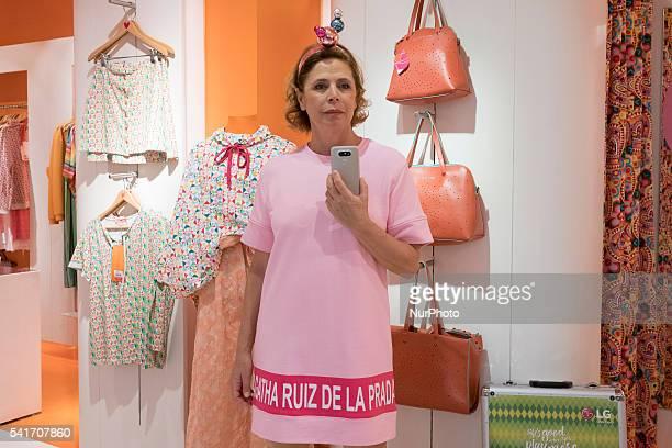 Agatha Ruiz de la Prada designer unveils new mobile phone LG brand in Madrid on June 20 2016
