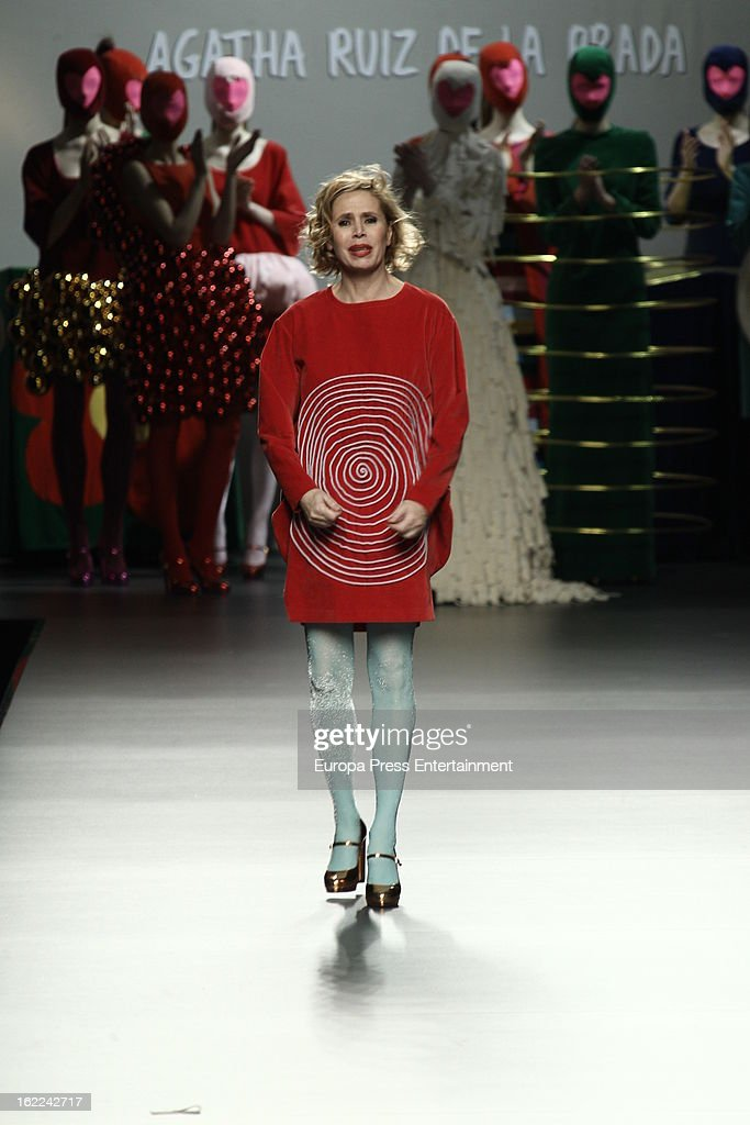Agatha Ruiz de la Prada is seen during Mercedes Benz Fashion Week Madrid Fall/Winter 2013/14 at Ifema on February 20, 2013 in Madrid, Spain.