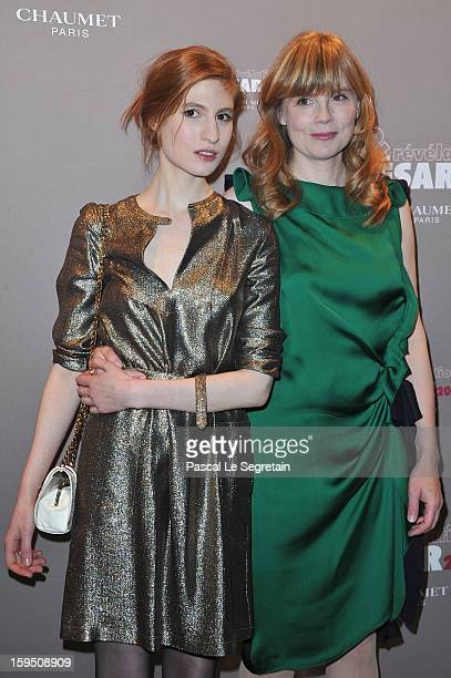 Agathe Bonitzer and Isabelle Carre attend 'Cesar's Revelations 2013' Dinner Arrivals at Le Meurice on January 14 2013 in Paris France