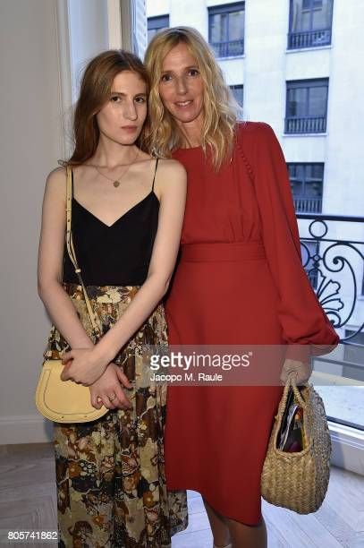 Agathe Bonitzer and Sandrine Kiberlain attend Guy Bourdin inaugural exhibition and unveiling of Maison Chloe as part of Paris Fashion Week at Maison...