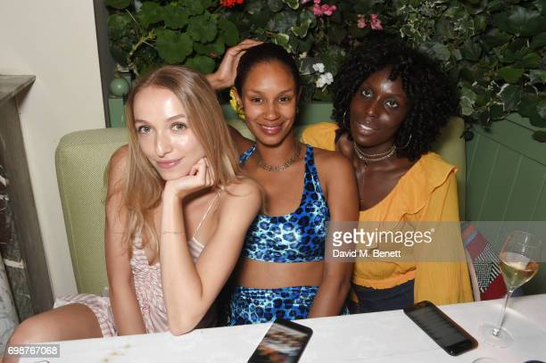 Agathe Chapman Hannagh Rose and Jenny Bastet attend a cocktail evening to celebrate the Edie Parker Resort 2018 collection at Mark's Club on June 20...