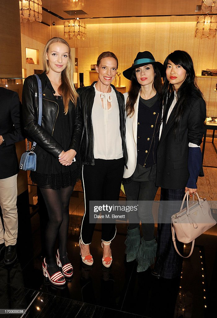 (L to R) Agathe Chapman, Tiphaine de Lussy, Lara Bohinc and guest attend a private view of the new CHANEL flagship boutique on New Bond Street on June 10, 2013 in London, England.