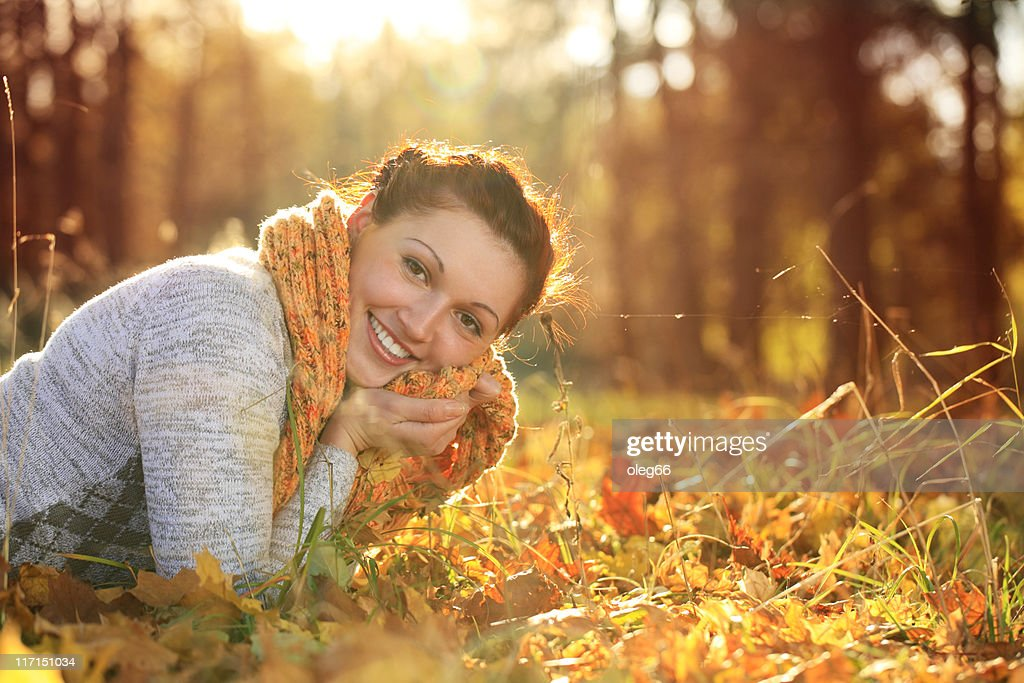 Age 20-25 Women often in the autumn forest : Stock Photo