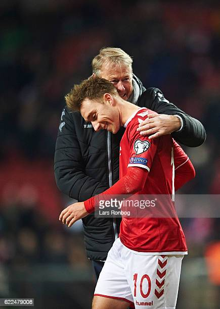 Age Hareide and Christian Eriksen celebrate after the FIFA 2018 World Cup Qualifier match between Denmark and Kazakhstan at Telia Parken Stadium on...