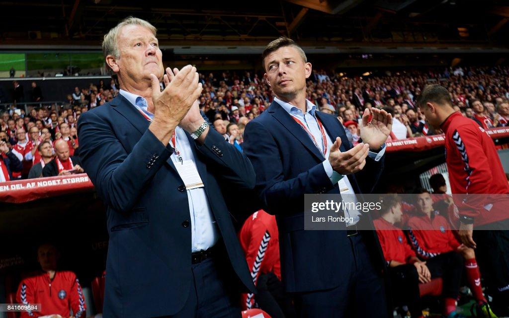 Age Hareide, head coach of Denmark and Jon Dahl Tomasson, assistant coach of Denmark prior to the FIFA World Cup 2018 qualifier match between Denmark and Poland at Telia Parken Stadium on September 1, 2017 in Copenhagen, Denmark.