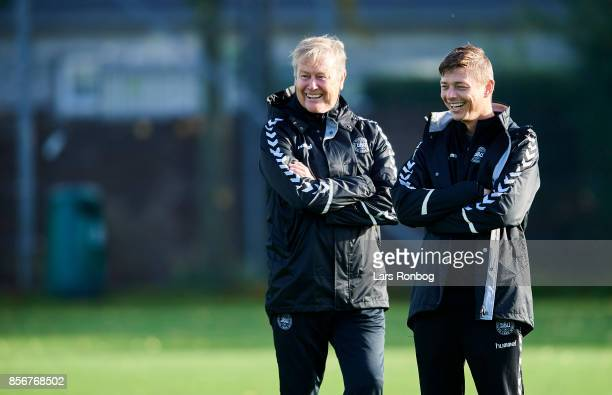 Age Hareide head coach of Denmark and Jon Dahl Tomasson assistant coach of Denmark waiting for the players prior to the Denmark training Session at...