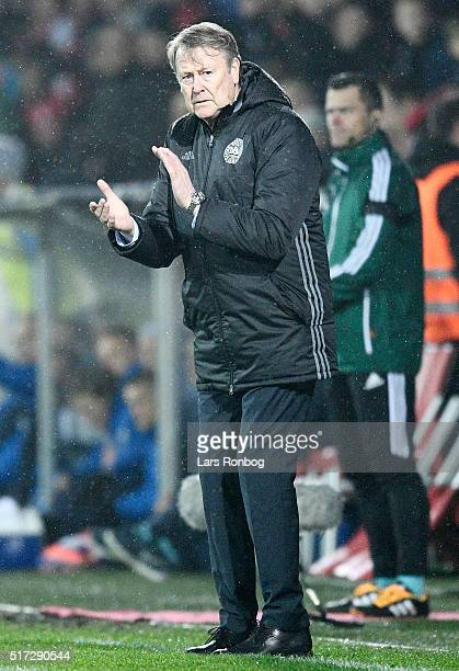 Age Hareide head coach of Denmark celebrate from the touchline during the international friendly match between Denmark and Iceland at MCH Arena on...