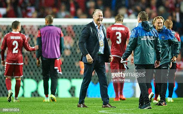 Age Hareide head coach of Denmark celebrates after the FIFA World Cup 2018 european qualifier match between Denmark and Armenia at Telia Parken...
