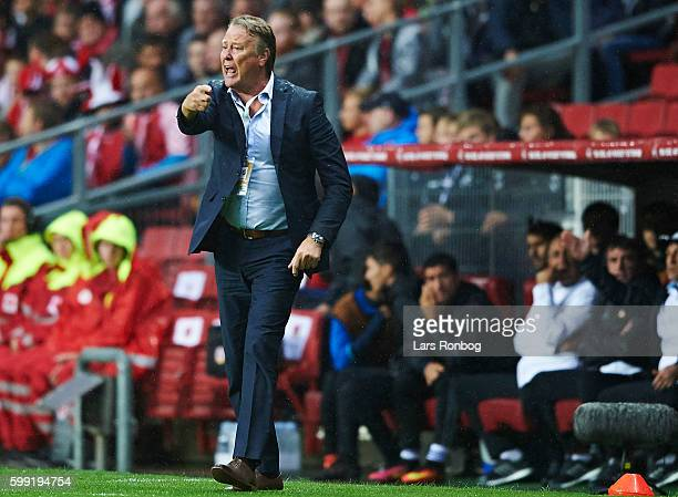 Age Hareide head coach of Denmark gestures during the FIFA World Cup 2018 european qualifier match between Denmark and Armenia at Telia Parken...