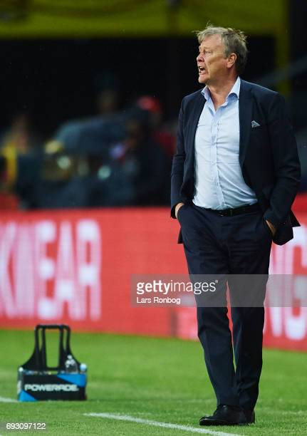 Age Hareide head coach of Denmark gives instructions from the touchline during the international friendly match between Denmark and Germany at...