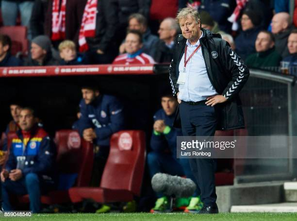 Age Hareide head coach of Denmark looks dejected after the FIFA World Cup 2018 qualifier match between Denmark and Romania at Telia Parken Stadium on...