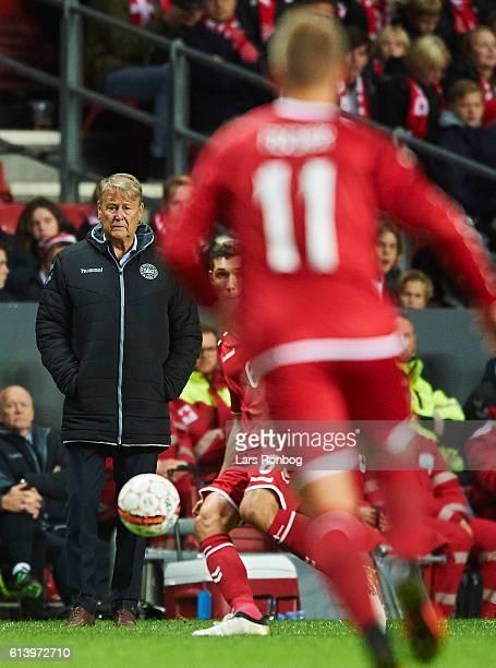 Age Hareide head coach of Denmark looks on during the FIFA World Cup 2018 european qualifier match between Denmark and Montenegro at Telia Parken...