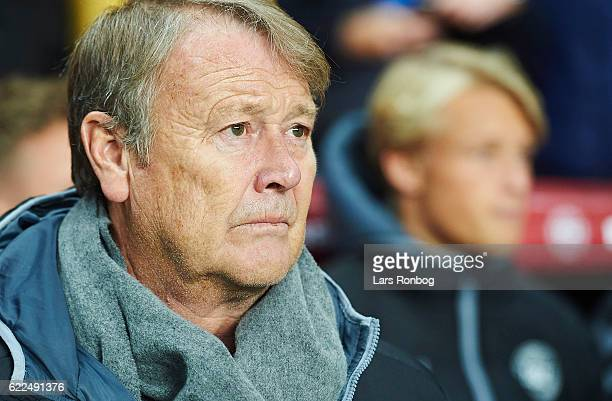 Age Hareide head coach of Denmark looks on prior to the FIFA 2018 World Cup Qualifier match between Denmark and Kazakhstan at Telia Parken Stadium on...