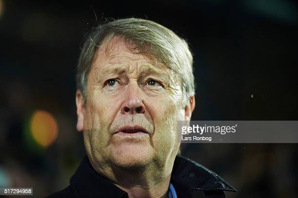 Age Hareide head coach of Denmark looks on prior to the international friendly match between Denmark and Iceland at MCH Arena on March 24 2016 in...