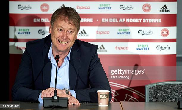 Age Hareide head coach of Denmark speaks to the media after the international friendly match between Denmark and Iceland at MCH Arena on March 24...
