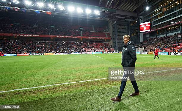 Age Hareide head coach of Denmark walks on tot the pitch prior to the FIFA World Cup 2018 european qualifier match between Denmark and Montenegro at...