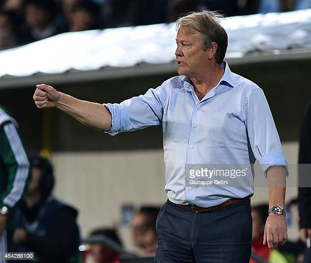Age Hareide head coach of Malmo during UEFA Champions League qualifying playoffs round second leg match between Malmo FF and Red Bull Salzburg on...