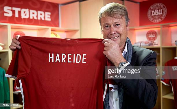 Age Hareide speaks to the media during the Danish FA Press Conference at Telia Parken Stadium on December 10 2015 in Copenhagen Denmark