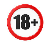 18+ Age Restriction Sign isolated on white background. 3D render