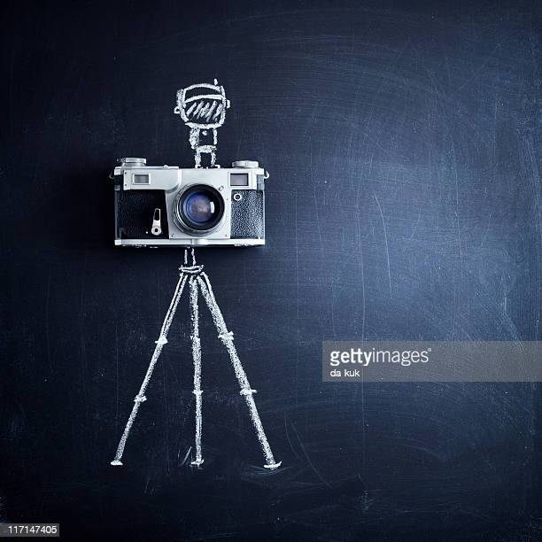 Aged camera on tripod