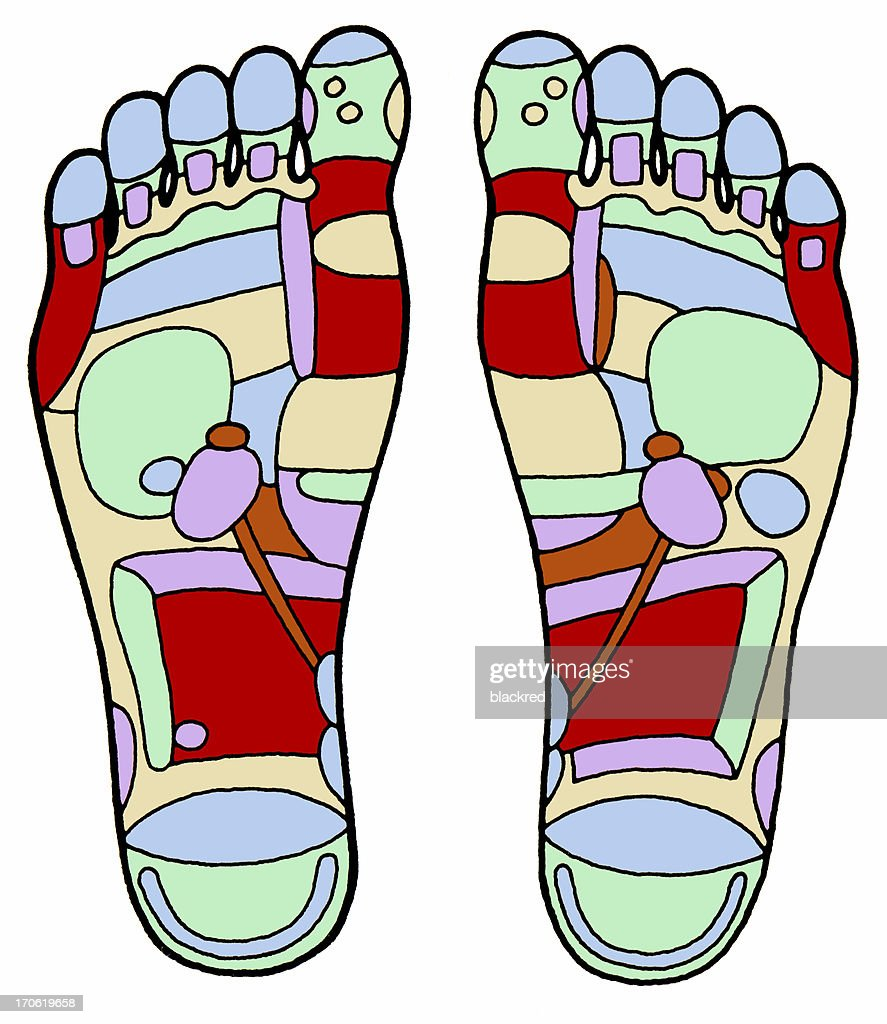 Aged Foot Massage Diagram : Stock Photo