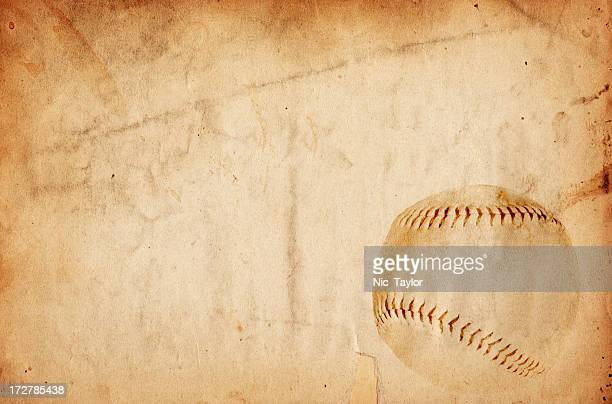 Aged paper with an image of a baseball in the corner