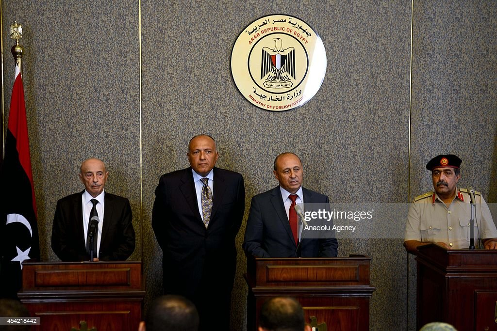 Ageela Issa, President of Libya House of Representatives, Libyan Foreign Minister Mohamed Abdelaziz , Egyptian Foreign Minister Sameh Shoukry and Libya's chief of staff Abdul Razzaq Nazuri attend a press conference within the Fourth Ministerial Meeting for the Neighbouring Countries of Libya, in Cairo, Egypt on August 26, 2014.