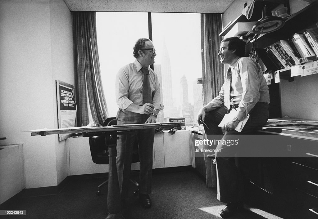 Agency Art Director Jos Schindelman and agency founder Marvin Sloves in the office of the 'Scali McCabe Sloves' advertising agency Madison Avenue New...