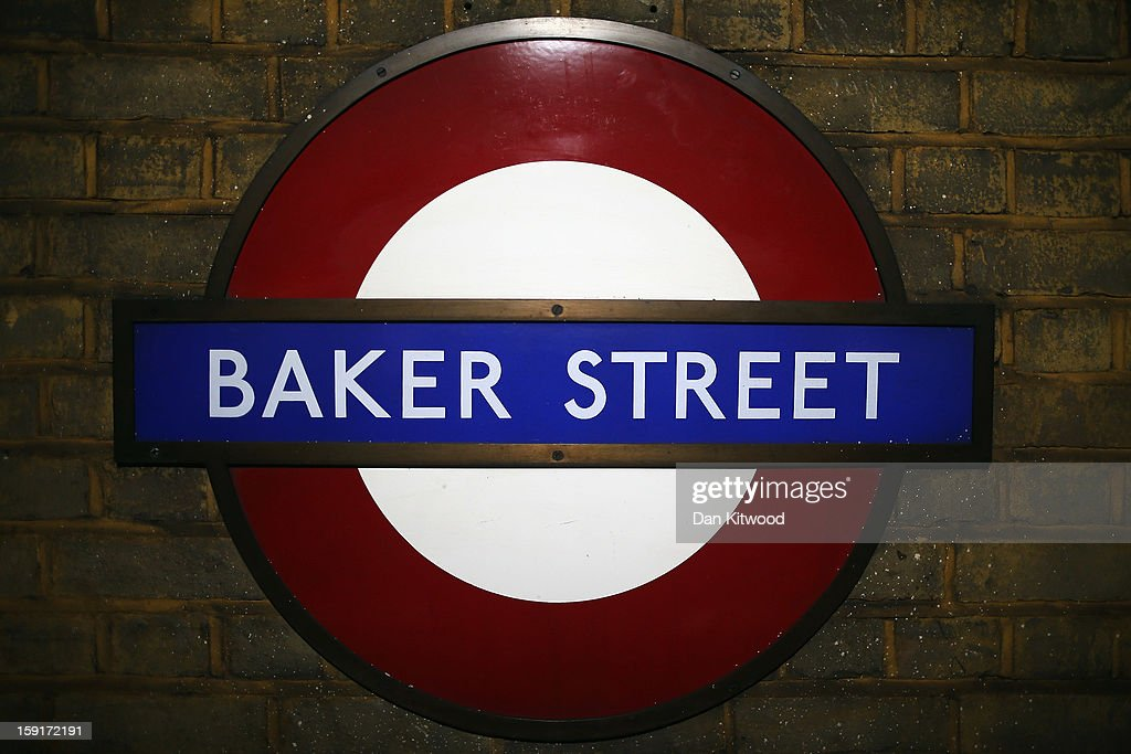 Ageneral view of a sign inside Baker Street Underground Station on January 9, 2013 in London, England. Baker Street Station shares the 150th Anniversary of its opening on January 10th, 2013 with the London Underground. Commonly called the Tube, the London Underground is the oldest of its kind in the world and now carries approximately a quarter of a million people around its network of 249 miles of track every day. Baker Street station was remodeled between 1911-13 by architect Charles W Clark to its present form as part of a comprehensive rebuilding project by the Metropolitan Railways with the station as its new company headquarters and flagship station, where it quickly became known as the 'Gateway to Metro - Land'. Outside the Marylebone Road exit, a large statue commemorates Sherlock Holmes, Sir Arthur Conan Doyles ficticious detective who resided in the novels at 221B Baker Street.