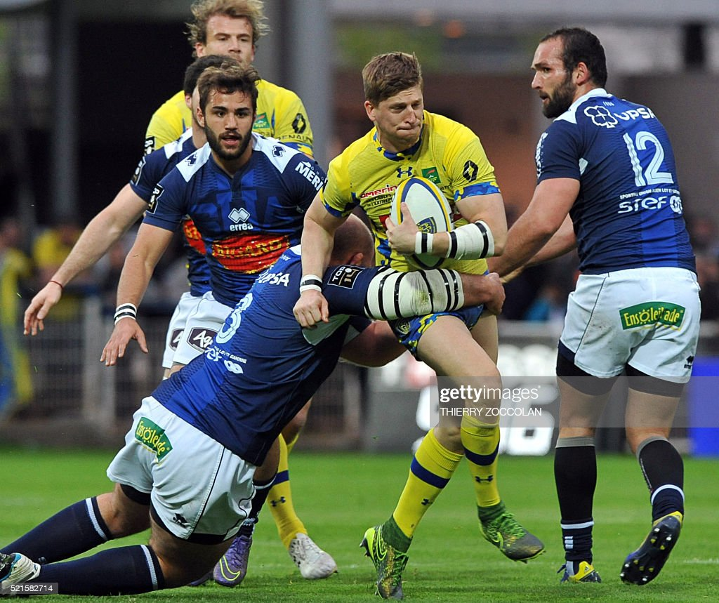 clermont v agen top photos and images getty images agen s players attempt to block clermont s english winger david strettle c as he fights