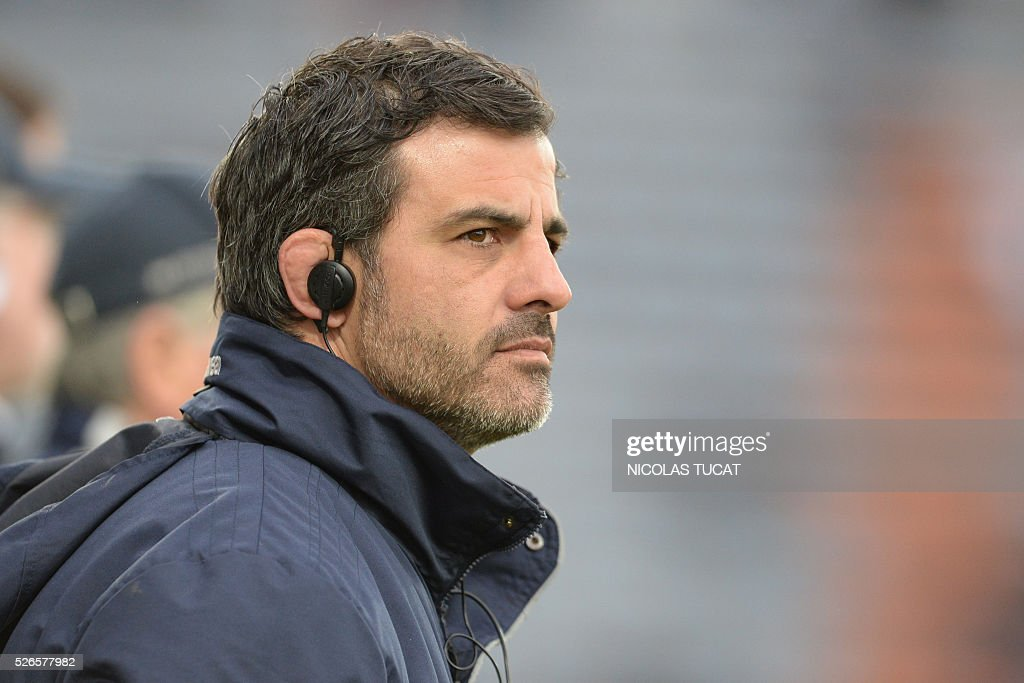 Agen's Rugby Union Club French Head Coach Mathieu Blin looks on during the French Top 14 rugby union match between Agen and Brive on April 30, 2016 at the Armandie stadium in Agen, southwestern France.