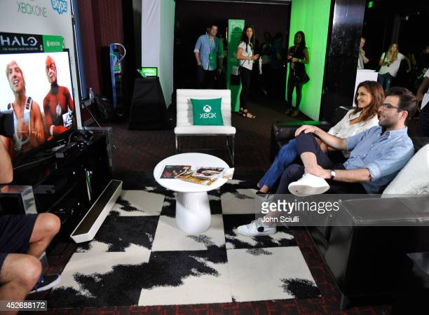 'Agent 47' actors Hannah Ware and Zachary Quinto take a break from ComicCon to Skype with fans in the Microsoft VIP Lounge on July 25 2014 in San...