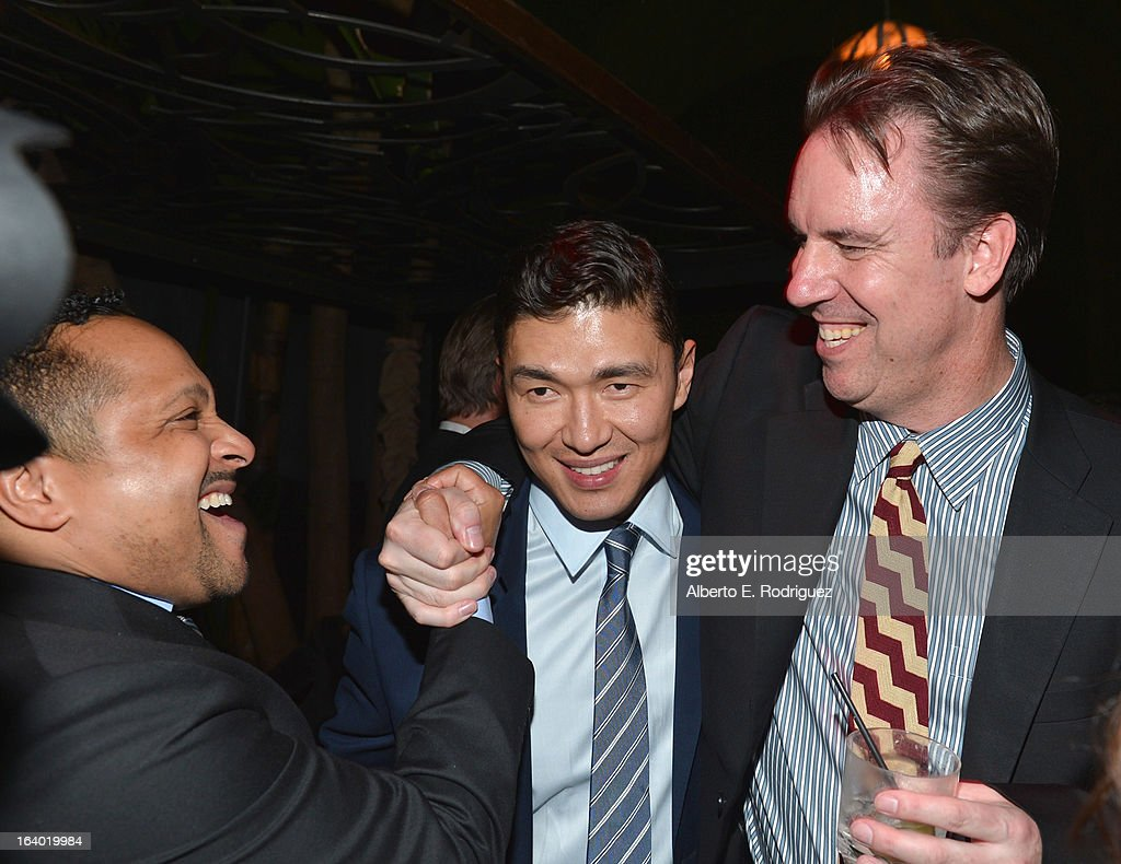 Agent Cameron Mitchell, actor <a gi-track='captionPersonalityLinkClicked' href=/galleries/search?phrase=Rick+Yune&family=editorial&specificpeople=641299 ng-click='$event.stopPropagation()'>Rick Yune</a> and executive producer <a gi-track='captionPersonalityLinkClicked' href=/galleries/search?phrase=Mark+Gill&family=editorial&specificpeople=221694 ng-click='$event.stopPropagation()'>Mark Gill</a> attend the after party for the premiere of FilmDistrict's 'Olympus Has Fallen' at Lure on March 18, 2013 in Hollywood, California.