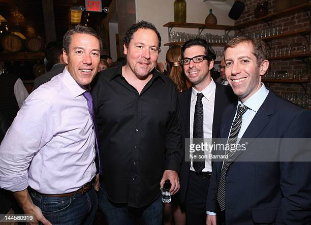 CAA Agent Chris Harbert filmmaker Jon Favreau CAA Agent Scott Lonker and CAA Agent Eric Wattenberg attend Creative Artists Agency's Upfront Party at...