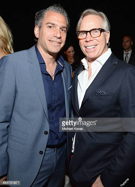 Agent Christian Carino and fashion designer Tommy Hilfiger attend the Zooey Deschanel for Tommy Hilfiger Collection launch event at The London Hotel...
