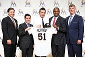 Agent John Boggs Miami Marlins president David Samson Ichiro Suzuki President of Baseball Operations Michael Hill and general manager Daniel Jennings...